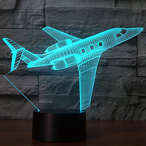 Creatively 3D Plane Lights LED Airplane Night Light, YKL WORLD 3D Aero Plane Illusion Table Lamp with 7 Colors and USB Powered, Best Bedroom Decor Toys Gifts for Kids Children Birthday