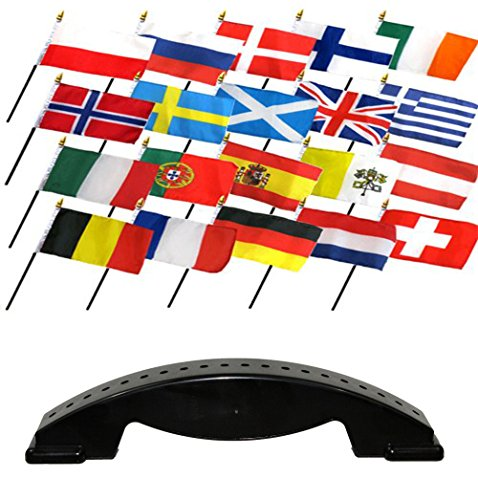 Europe Stand (4x6 European Europe Country 20 Desk Set Table Stick Flags w/ 20 Hole Base Stand)