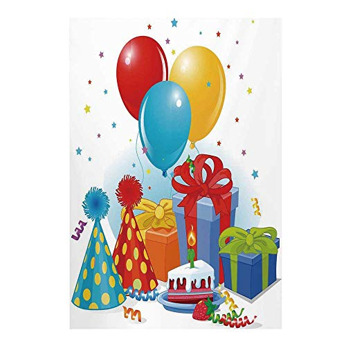- Birthday Decorations Stylish Backdrop,Slice of Strawberry Pie Party Set Up with Hats Balloons Presents Stars for Photography,59