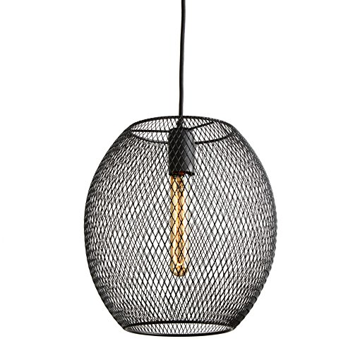 (LampLust Black Pendant Ceiling Light - Metal Mesh Oval Cage, Edison Style LED Vintage Bulb Included, Hanging Fixture - ETL Listed)