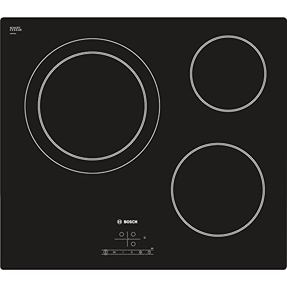 Bosch Serie 4 PKK611B17E hobs Negro Integrado Cerámico - Placa (Negro, Integrado, Cerámico, Vidrio y cerámica, 1200 W, 14,5 cm)