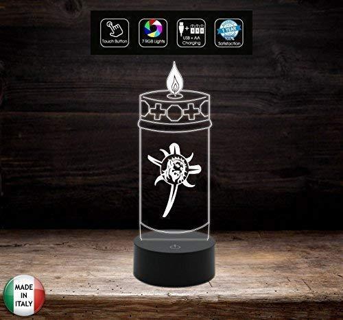 Lampada led funebre funeraria Cero 7 colori Accessorio per cimitero Lume sacro