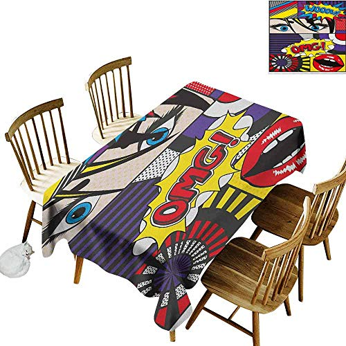 DONEECKL Art Oil-Proof Tablecloth Seamless Design Comic Book Inspired Style Wooow OMG Eyes Reading Panels Lines Excitement Action Print Multicolor W60 xL120