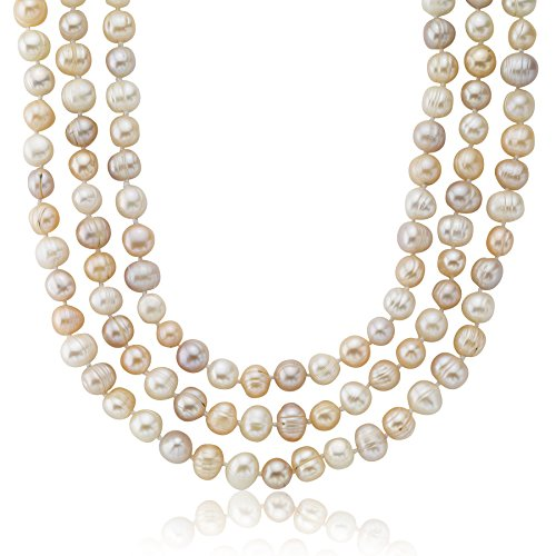 Freshwater Cultured Pearl Multi Colored White Peach Lavender Endless Necklace (7.5-8.5mm) 64