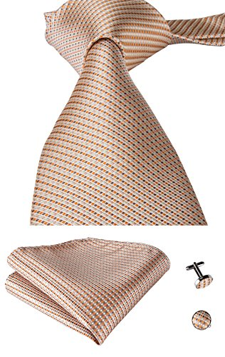 - Hi-Tie Men Beige Gold Champagne Solid Tie Handkerchief Necktie with Cufflinks and Pocket Square Tie Set