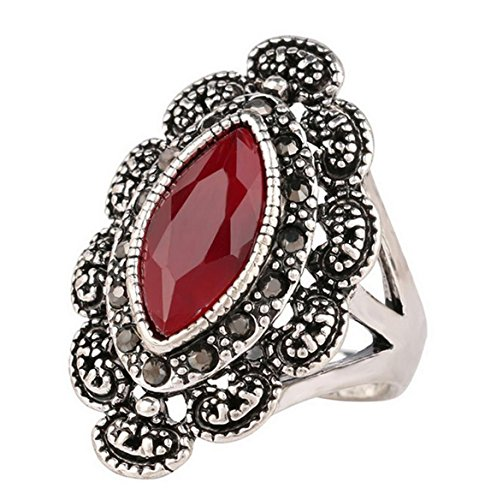 PSRINGS Rings Big Black Red Precious Stones Antique Silver Ring Retro Texture Engraving Model Lover ring 9.0