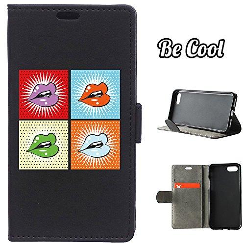 BeCool® - Housse étui [portefeuille] iPhone 7 Plus, [Fonction support], protège et s'adapte a la perfection a ton Smartphone. Elegan Wallet. Fleur turquoise