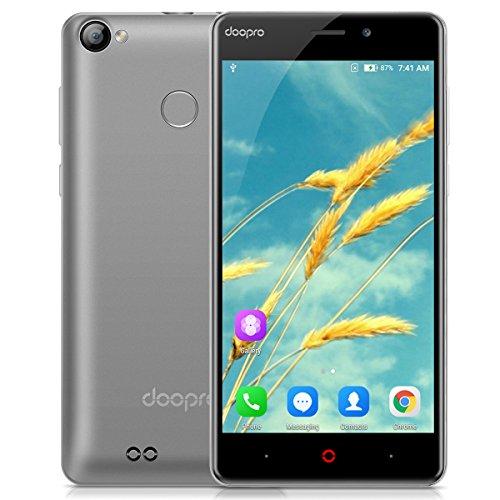 Doopro P1 Pro - 4G Smartphone ohne Vertrag (5 Zoll, Android 6.0, 1.3GHz, Qualcomm MSM8909 Quad-core, 2GB RAM 16GB ROM, 4200mAh, Fingerprintsensor ID, Dual SIM, Dual Kamera) (Schwarz)