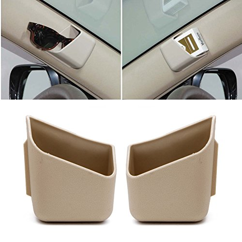Amrka Sun Glasses / Glasses Holders for Car Visor Universal Perfect Storage Organizer - Easy Stick On - Also Ideal for Holding Cards and Mobile phones (Beige)