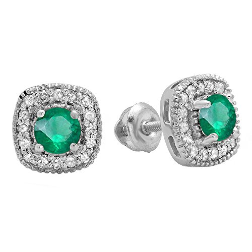 (10K White Gold Round Cut Emerald & White Diamond Ladies Halo Stud)