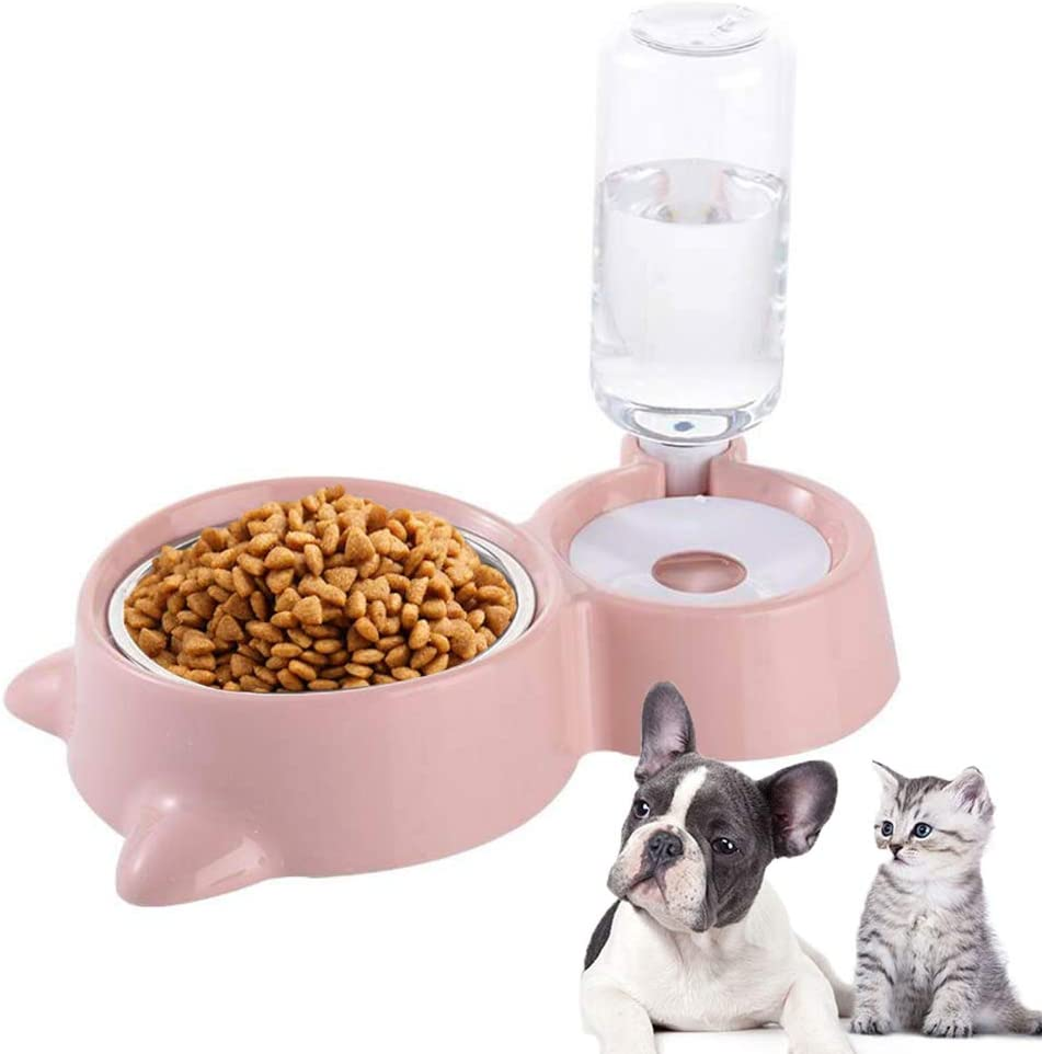 Meipire Dog Cat Double Bowls Automatic Cat Feeder and Water Dispenser, Pet Food and Water Feeder Bowls with Automatic Water Bottle for Small Large Dog Pets Puppy Kitten Rabbit (Pink)