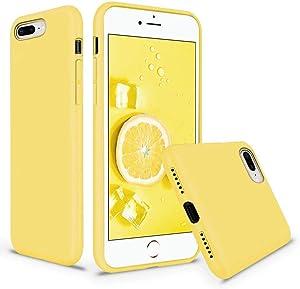 Vooii iPhone 8 Plus Case, iPhone 7 Plus Case, Soft Liquid Silicone Slim Rubber Full Body Protective iPhone 8 Plus/7 Plus Case Cover with Soft Microfiber Lining for iPhone 8 Plus iPhone 7 Plus - Yellow