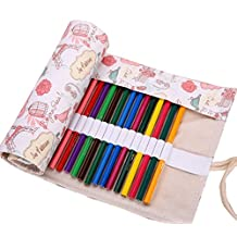 Hillento Love Paris fashion small fresh handmade canvas pencil wrap (pencils are not included),48 Holes