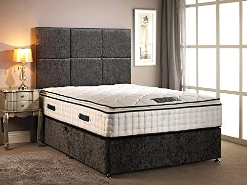 Somnior Beds Divan Bed chenille fabric with High Pillow top 30cm Deep mattress with four drawers with headboard in different size variation (Charcoal, 5FT KING)