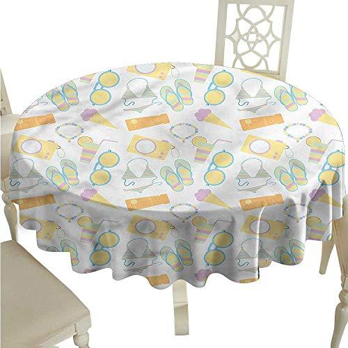 (ScottDecor Jacquard Tablecloth Summer,Pastel Hue Flip Flops Bikini Printed Tablecloth Round Tablecloth D)