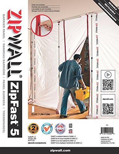 ZipWall ZipFast Reusable Barrier 5' Panel for Dust Barriers, ZF5 ()