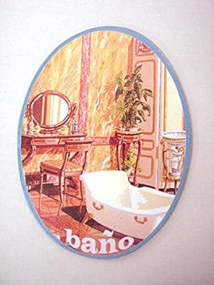 Desconocido Placa Madera Adhesiva Cartel Puerta Letrero Oval BAÑO Lavabo Aseo Servicio WC BAÑERA TOCADOR