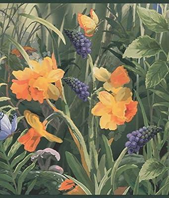 Wild Meadow Blue Orange Flowers Butterflies Wide Floral Wallpaper Border Retro Design, Roll 15' x 9.5''