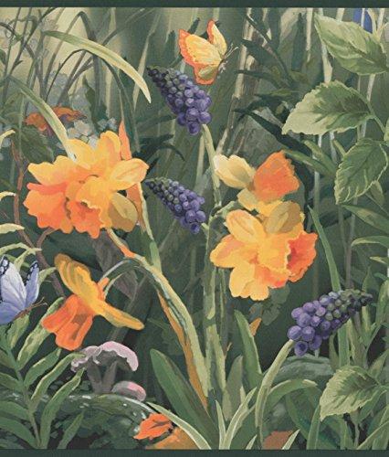 Wild Meadow Blue Orange Flowers Butterflies Wide Floral Wallpaper Border Retro Design, Roll 15' x 9.5'' - Orange Flower Wallpaper