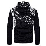 ZYFGfree European Size Fashion Spray Painting Heap Collar Long Sleeve Knitting Sweater (Black, M)