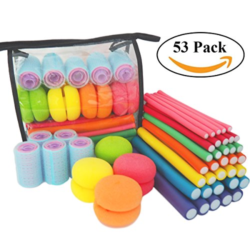 Curl Rollers (xnicx 53pcs Flexible Curling Rods Hair Rollers Set Soft Curlers for Sleep with Big Curl Foam Rollers, Multi - Sized Soft, Bouncy Sleeping Curls Ball for Curling Hair)