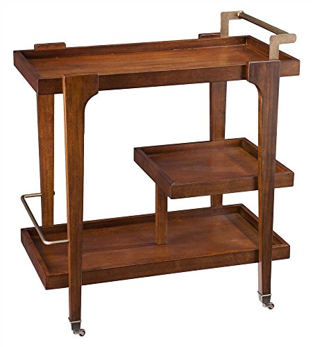 Holly and Martin Zhori Bar Cart in Dark Tobacco and Aged Brass