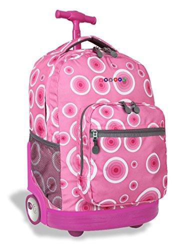 J World New York Sunrise Rolling Backpack, Pink