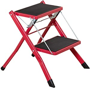 MTYLX Outdoor Home Dual-Purpose Step Stool,Two-Step Indoor Folding Ladder, Non-Slip Ladder, Climbing Ladder,#3