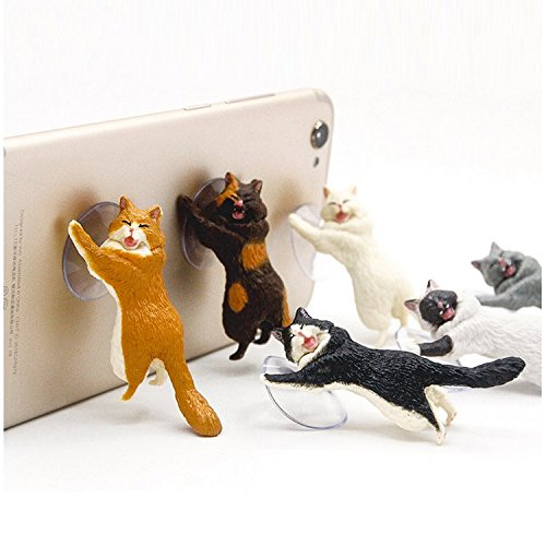 Cute Cat Phone Holder, Chris.W 6Pack Universal Cell Phone Tablet Stand for iPad Mini/Pro/Air, iPhone 6/7/8 Plus/X, Samsung, Android Mobile Phone, Suction Cup Desktop Mounts(Multi)