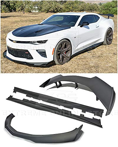 Replacement For 2016-2018 Chevrolet Camaro SS Models   EOS ZL1 1LE Style ABS Plastic PRIMER BLACK Front Bumper Lower Lip Splitter With Side Skirt Panels Pair & Rear Trunk Lid Wing Spoiler COMBO KIT ()