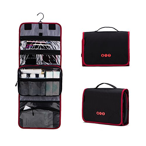 BAGSMART Hanging Travel Toiletry Bag Carry-on Makeup Organizer Folding Cosmetic Bag for Women and Men, Black + Red by BAGSMART