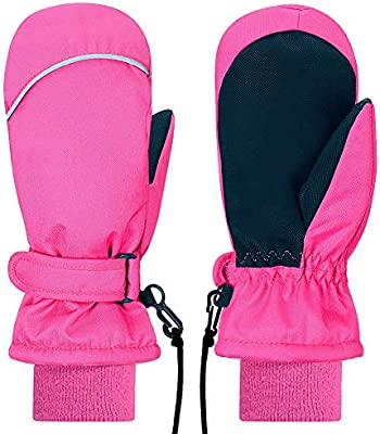 Kids Mittens Gloves Winter Waterproof Sports Snow Ski Mittens for Girls Boys Toddlers Age 2 3 4 5 6 7 Years Old Pink Black