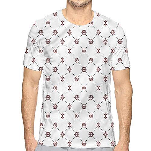 Jinguizi t Shirt Ships Wheel,Diagonal Dashed Lines Printed t Shirt M ()