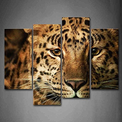 First Wall Art - Leopard Head Wall Art Painting Pictures Print On Canvas Animal The Picture For Home Modern Decoration]()