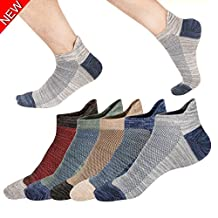 M&Z Men's Low Cut Socks Anti-slid Athletic Cotton Socks Fit All Seasons 5 Pack