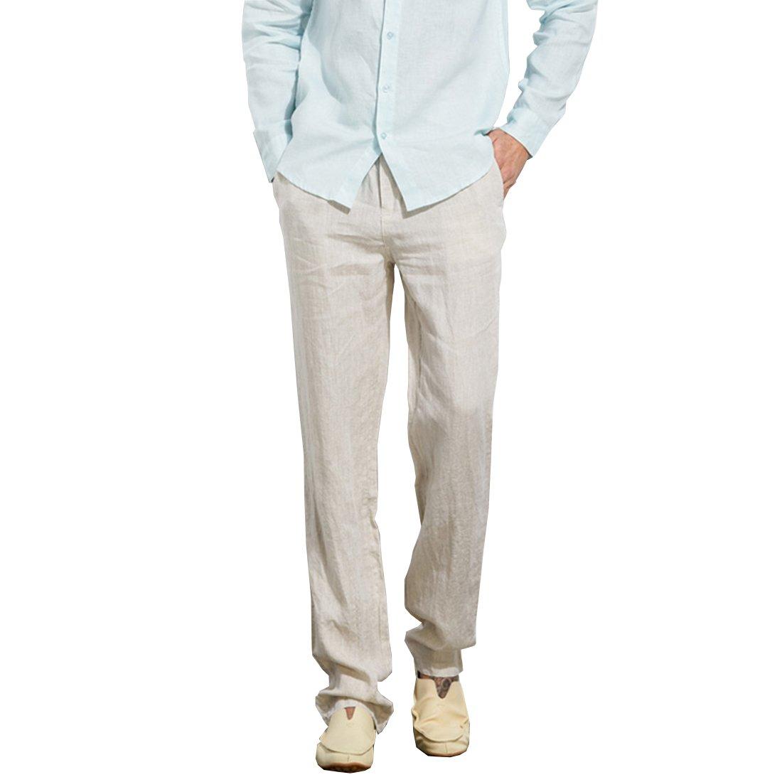 Manwan walk Men's Casual Beach Trousers Elastic Loose Fit Lightweight Linen Summer Pants K70 (XX-Large, Beige)
