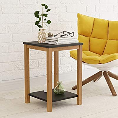 BAMEOS Side Table Modern Industrial End Table, 2-Tier Side Table with Storage Shelf, Accent Coffee Table for Living Room Bedroom Balcony Family and Office in Black Color(13.4x13.4x19.7inch - 【RENEWABLE MATERIAL】 The surface is smooth enough with sturdy MDF panel material and UV paint, and the legs of the table are made of bamboo. Bamboo is one of the most environmentally friendly materials in the world. It can grow into bamboo for industrial use in five years. It is renewable, strong and durable. 【STURDY STRUCTURE】The legs are made of solid bamboo and are a durable natural material. There are 4 legs on the side table, which can stand upright on the ground, and the whole end table can stand stably no matter where the side table is placed. 【SIMPLE STYLISH DESIGN】Vintage chic with Simple construction to create an attractive look and feel; Fits well with your personal taste and interior décor. This side table is the perfect combination of functionality, durability and stylish vintage design. Can make your room personalized and classically aesthetic - living-room-furniture, living-room, end-tables - 51bJDwSYSCL. SS400  -