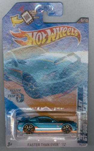 Hot Wheels 2012-095 Faster Than Ever 5/10 '10 Ford Shelby GT-500 Super Snake BLUE-Green 1:64 Scale SCAN & TRACK (Super Gt Gt500)