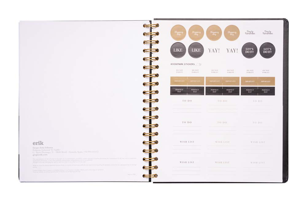 Amazon.com : ERIK Back To Black Weekly Planner, Planner for ...
