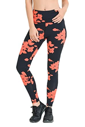 Mono B Womens High Waist Full Leggings Hibiscus Print ...