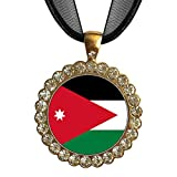 GiftJewelryShop Gold-plated Jordan flag White Crystal Charm Pendant Necklace