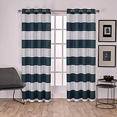 "Exclusive Home Curtains Surfside Cabana Stripe Cotton Window Curtain Panel Pair with Grommet Top, 54x84, Indigo, 2 Piece - Surfside drapes offer a beach style cabana stripe and are constructed from a rich cotton blend fabric Includes:  Two (2) curtain panels, each measuring:   54""W x 84""L 8 matte silver grommets per panel; inside diameter for curtain rod measures 1-5/8"" - panel sewn with 4"" heading; 3"" bottom hem - living-room-soft-furnishings, living-room, draperies-curtains-shades - 51bJEfi3gmL. SS400  -"
