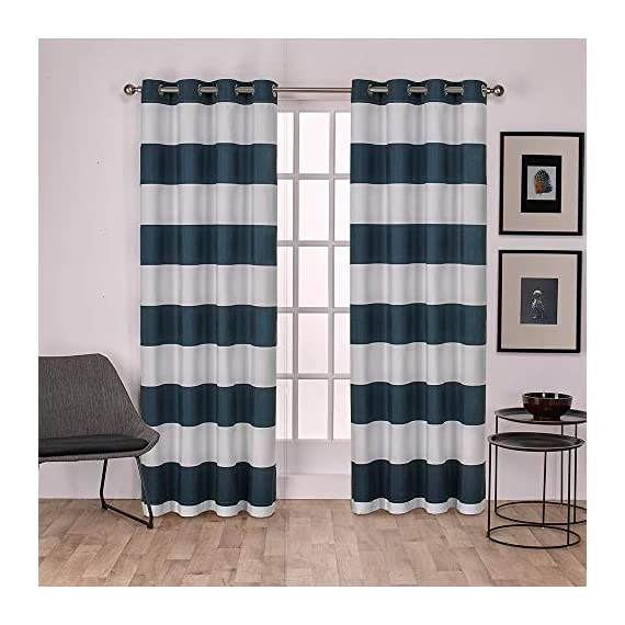 "Exclusive Home Curtains Surfside Cabana Stripe Cotton Window Curtain Panel Pair with Grommet Top, 54x84, Indigo, 2 Piece - Surfside drapes offer a beach style cabana stripe and are constructed from a rich cotton blend fabric Includes:  Two (2) curtain panels, each measuring:   54""W x 84""L 8 matte silver grommets per panel; inside diameter for curtain rod measures 1-5/8"" - panel sewn with 4"" heading; 3"" bottom hem - living-room-soft-furnishings, living-room, draperies-curtains-shades - 51bJEfi3gmL. SS570  -"