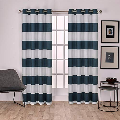 Exclusive Home Curtains Surfside Cabana Stripe Cotton Window Curtain Panel Pair with Grommet Top, 54x84, Indigo, 2 Piece (Drapes Nautica)