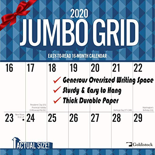 "Goldistock 2020 Large Planner Wall Calendar-""Jumbo Large Print"" 12"" x 24"" (Open) - Thick & Sturdy Paper - - Perfect for Organizing & Planning - Oversized Blocks"