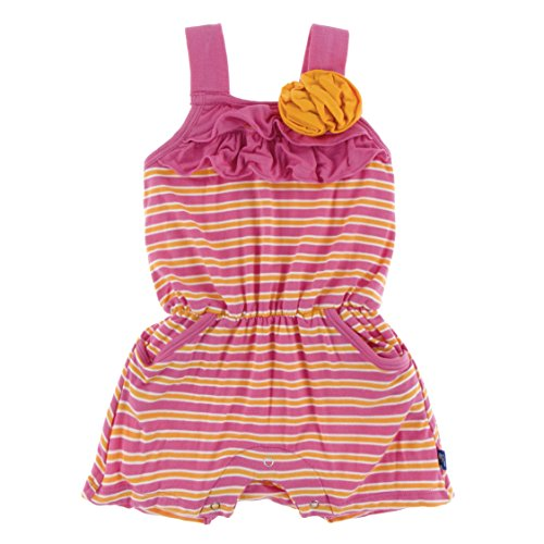 Kickee Pants Little Girls Print Flower Romper With Pockets - Flamingo Brazil Stripe, 12-18 Months
