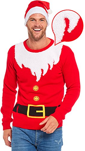 Men Ugly Christmas Sweater - YOU LOOK UGLY TODAY Unisex Christmas Sweater Santa Costume with Hat-L