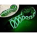 4 inch Green Glass Artwork,Curve Style,Glow in The Dark Squiggly