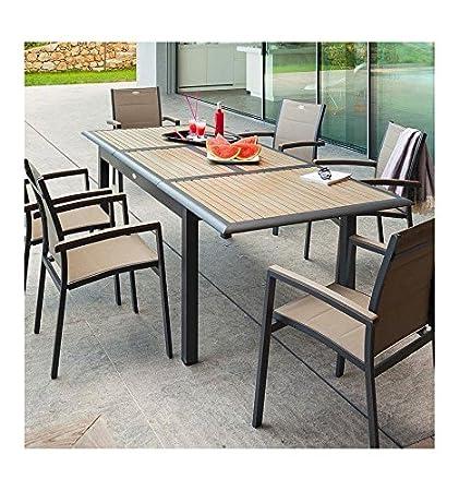 Table extensible Azua en bois 12 personnes taupe /anthracite ...