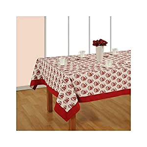 Printed Table Linen/Cover/Cloth in Cotton with Napkin and Runner - Red & White - 4 Seater by DecrOnn
